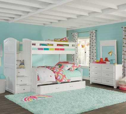 Cottage Colors White Twin/Full Step Bunk