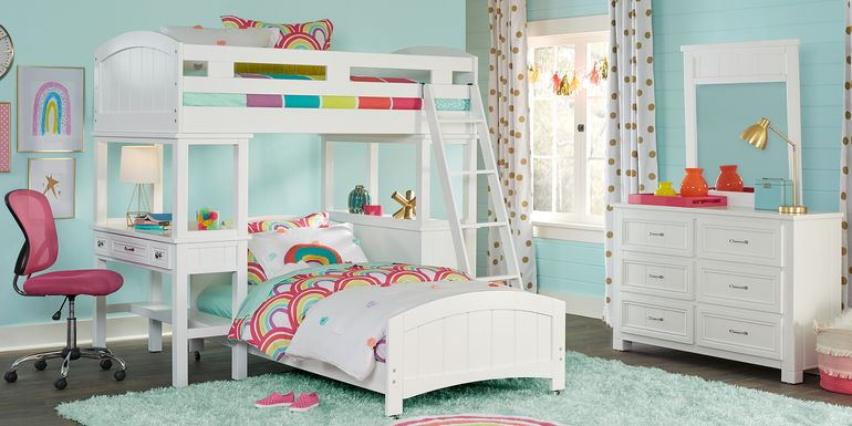 Cottage Colors White Twin Loft Bunk with Desk and Dresser