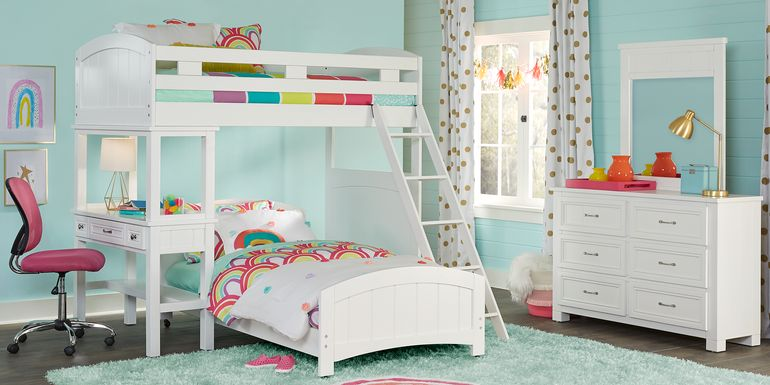 Cottage Colors White Twin/Twin Loft Bunk Bed with Desk
