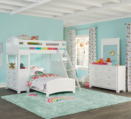 Cottage Colors White Twin/Twin Loft Bunk Bed with Dresser