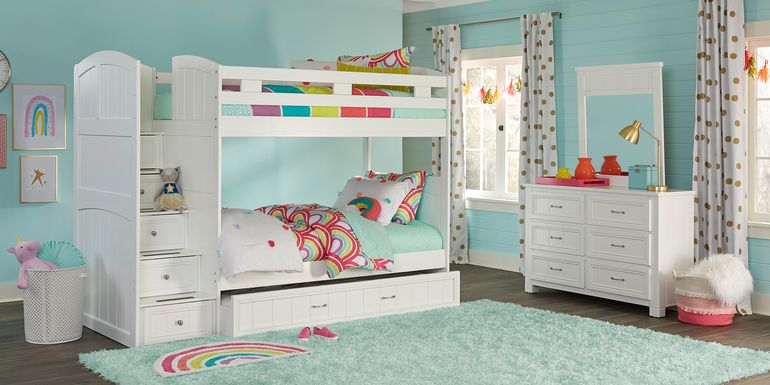 Cottage Colors White Twin/Twin Step Bunk Bed