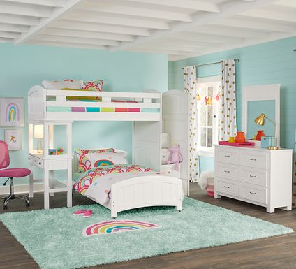 Cottage Colors White Twin/Twin Step Bunk with Desk