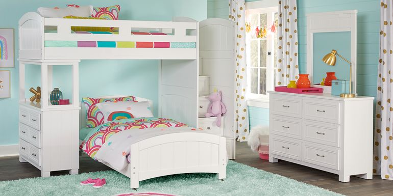 Cottage Colors White Twin/Twin Step Bunk with Dresser
