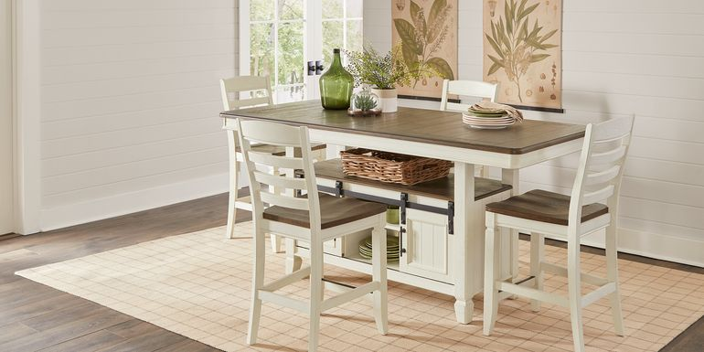 Country Lane Antique White 5 Pc Counter Height Storage Dining Room with Ladder Back Stools