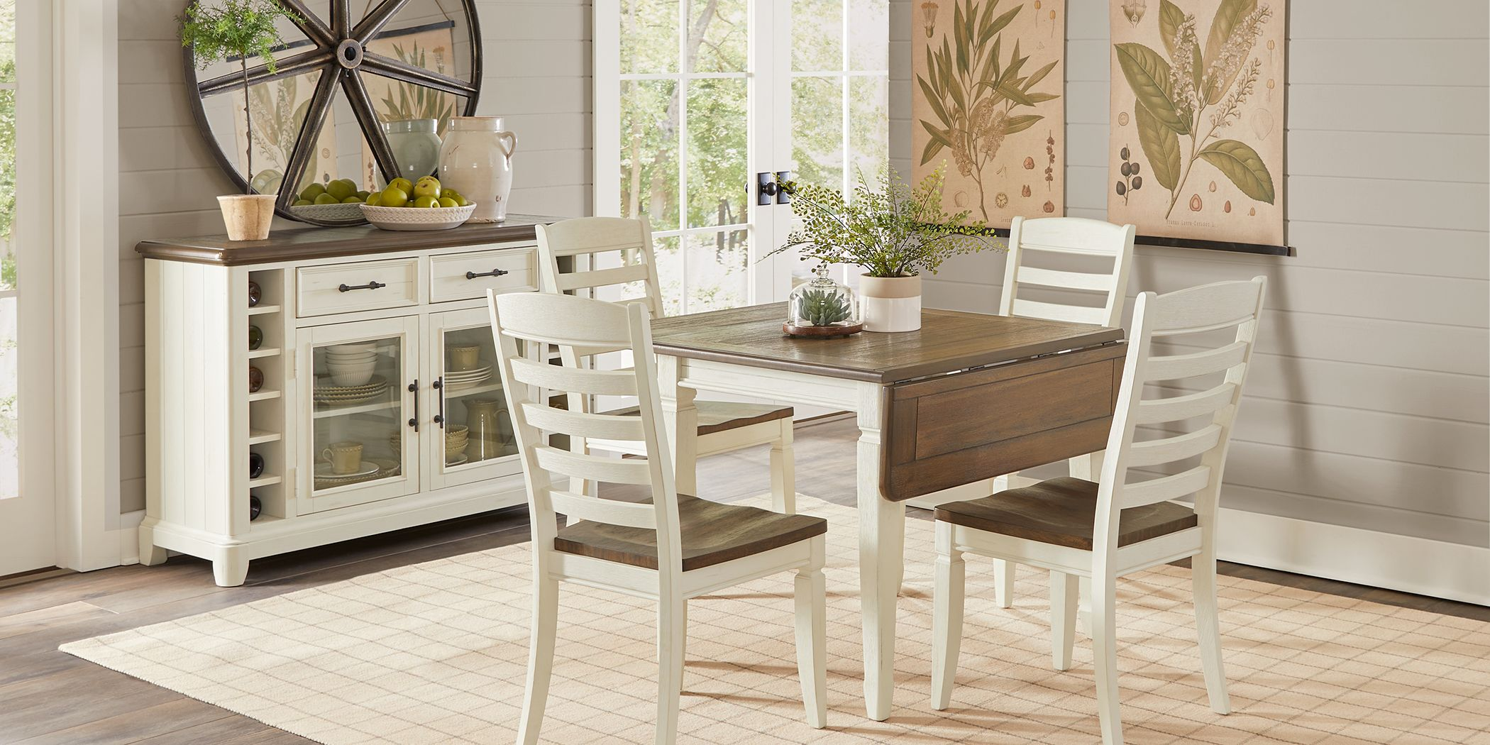 Country Lane Antique White 5 Pc Drop Leaf Dining Room With Ladder Back Chairs Rooms To Go