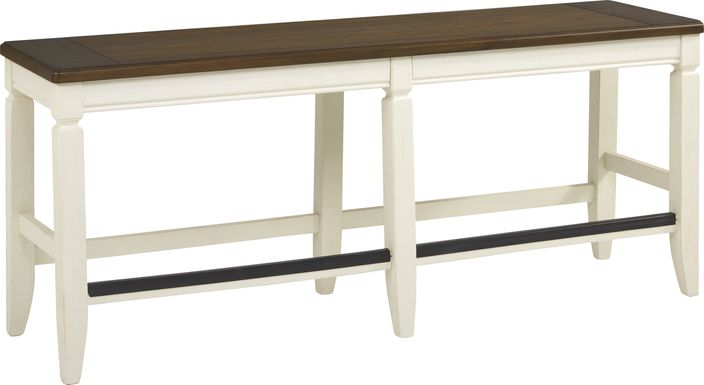 Country Lane Antique White Counter Height Bench