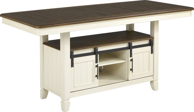Country Lane Antique White Counter Height Storage Dining Table
