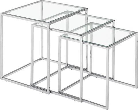 Courcheve Chrome Nesting Tables, Set of 3