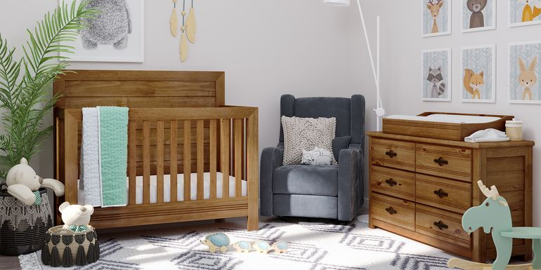 Creekside Chestnut 5 Pc Nursery with Toddler Rails