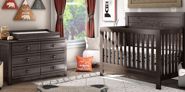 Creekside Charcoal 6 Pc Nursery with Toddler & Conversion Rails