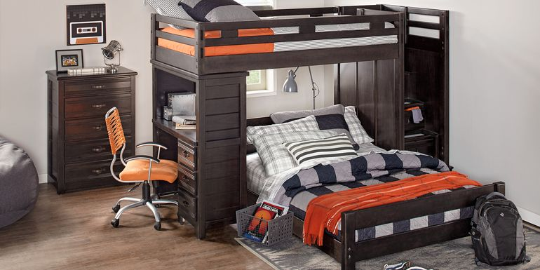 Creekside Charcoal Twin/Full Step Bunk with Desk