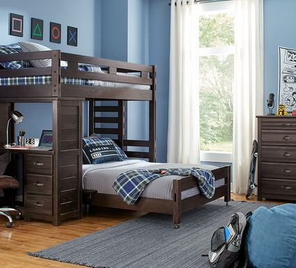 Creekside Charcoal Twin/Full Student Bunk Bed with Desk