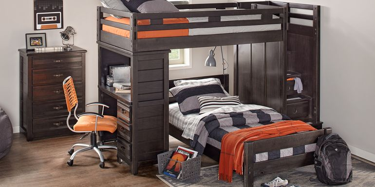 Creekside Charcoal Twin/Twin Step Bunk Bed with Desk