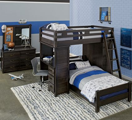 Creekside Charcoal Twin/Twin Student Bunk Bed with Desk & Chest