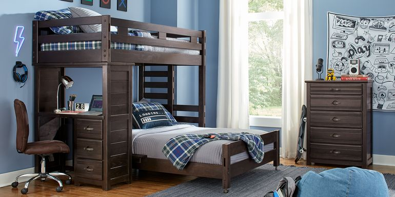 Creekside Charcoal Twin/Twin Student Bunk Bed with Desk
