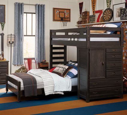 Creekside Charcoal Twin/Twin Student Loft Bed with Chest