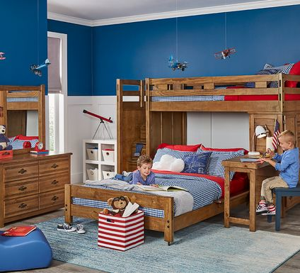 Creekside Chestnut Twin/Full Step Bunk Bed with Desk and Chest