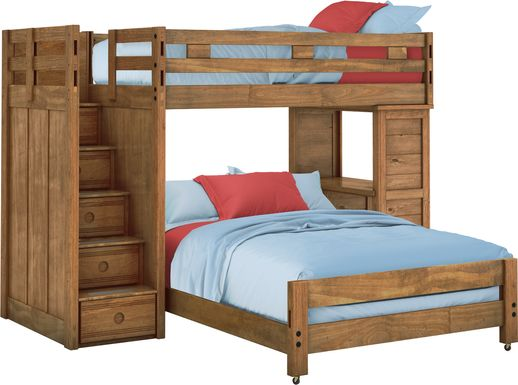 Creekside Chestnut Twin/Full Step Bunk Bed with Desk