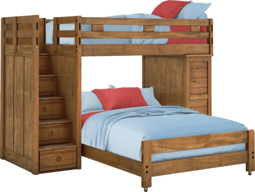 Creekside Chestnut Twin/Full Step Bunk with Chest