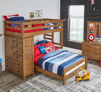 Creekside Chestnut Twin/Full Student Loft Bed with Chest