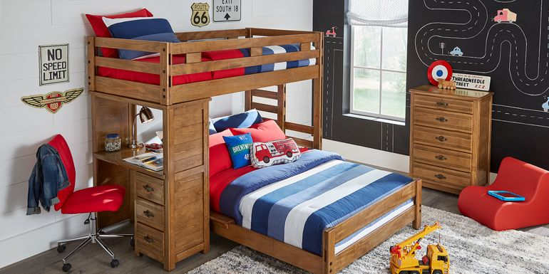 Creekside Chestnut Twin/Full Student Loft Bed with Desk