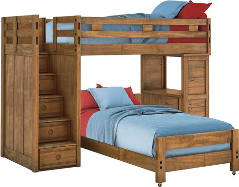 Creekside Chestnut Twin/Twin Step Bunk Bed with Desk
