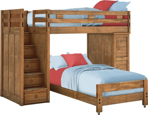 Creekside Chestnut Twin/Twin Step Bunk with Chest