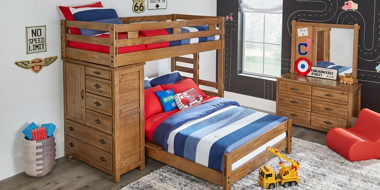 Creekside Chestnut Twin/Twin Student Loft Bed with Chest