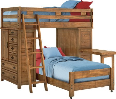 Creekside Chestnut Twin/Twin Student Loft Bed with Two Chests & Desk