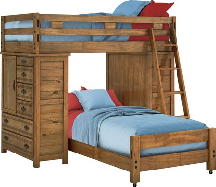 Creekside Chestnut Twin/Twin Student Loft Bed with Two Chests