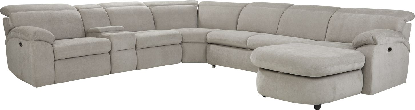 Crescent Place Gray 6 Pc Power Reclining Sleeper Sectional