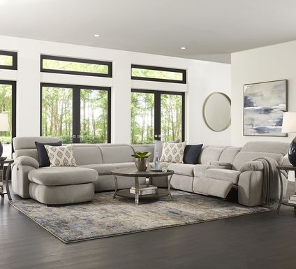 Crescent Place Gray 9 Pc Power Reclining Sleeper Sectional Living Room
