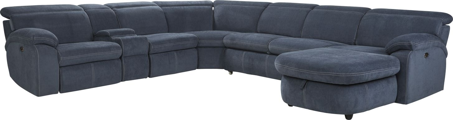Crescent Place Navy 6 Pc Power Reclining Sleeper Sectional