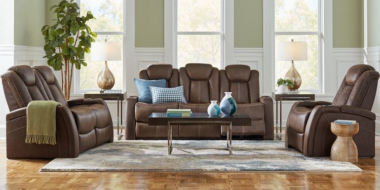 Crestline Brown 7 Pc Living Room with Dual Power Reclining Sofa