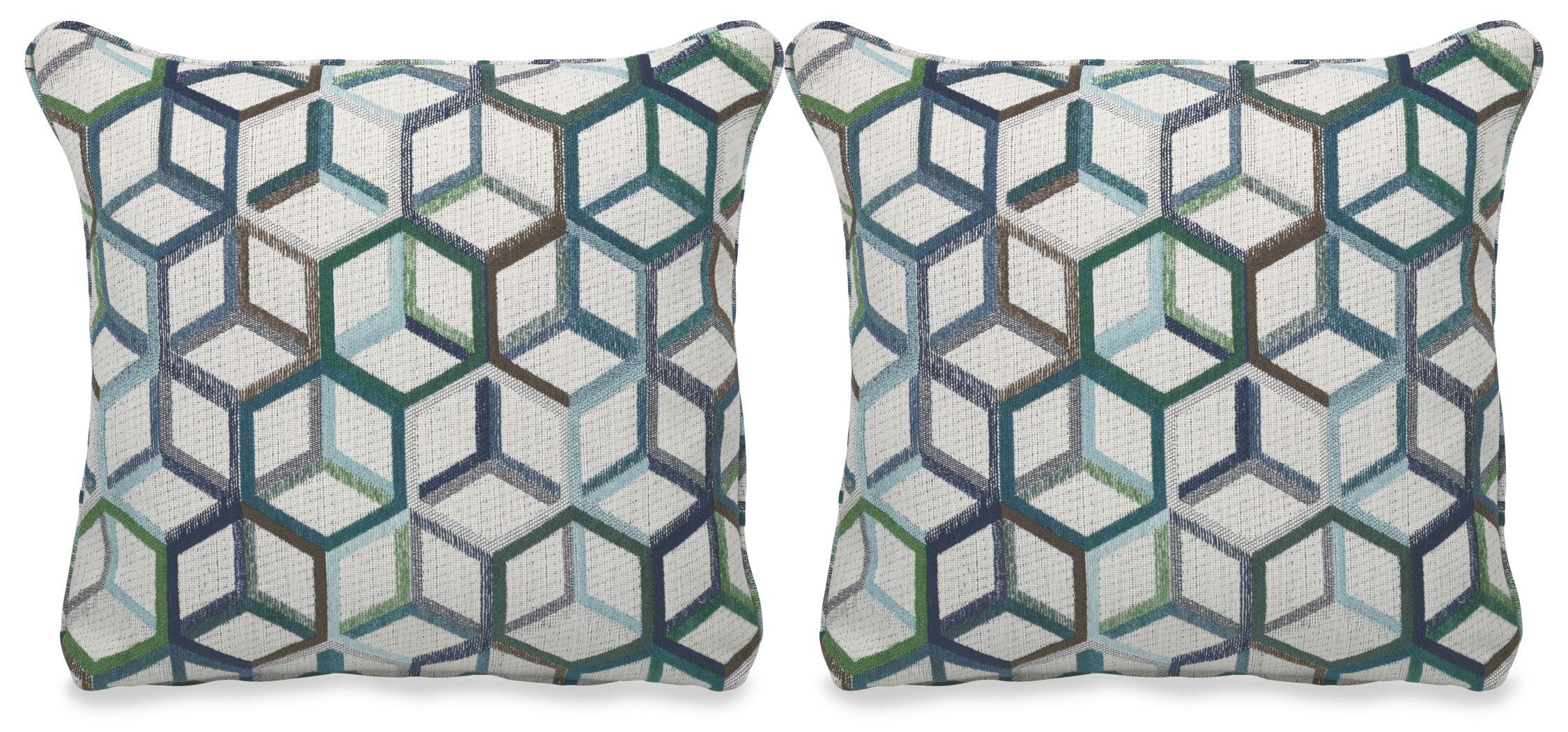 Cubism Emerald Accent Pillow (Set of 2)