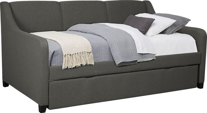 Daelan Dark Gray Twin Daybed with Twin Storage Trundle