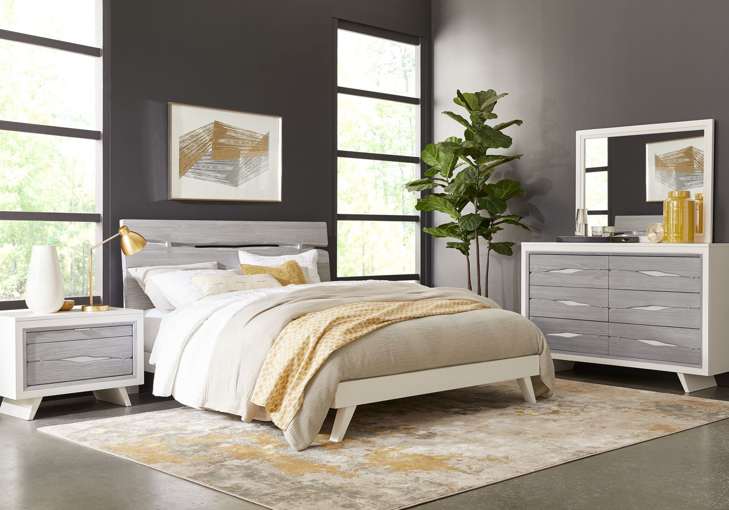 Dana Point White 5 Pc Queen Panel Bedroom