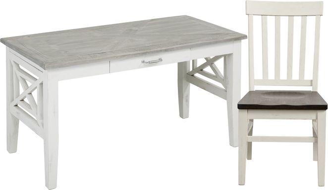 Danusa White Writing Desk with Chair