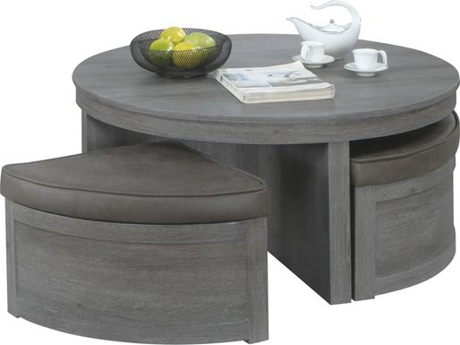 Darien Gray Cocktail Table with Storage Ottomans
