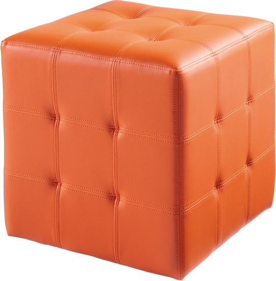 bright orange colored upholstered ottoman