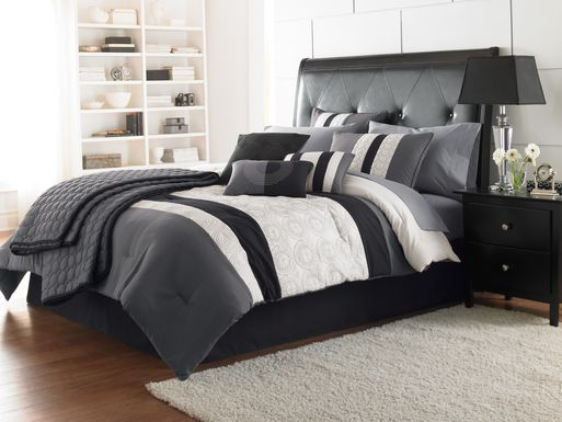 Darrah Black 7 Pc Queen Comforter Set