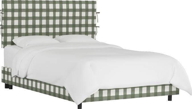 Deep Forest Sage Queen Upholstered Bed
