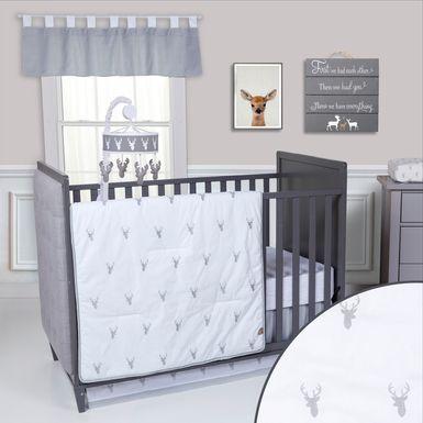 Deerville Gray 3 Pc Baby Bedding Set