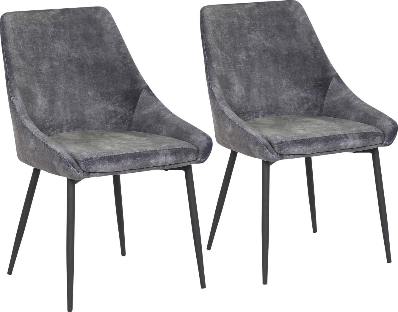 Dellrey Dark Gray Dining Chair, Set of 2