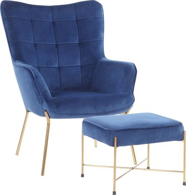 Desmare Blue Accent Chair and Ottoman