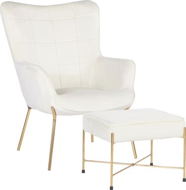 Desmare Cream Accent Chair and Ottoman