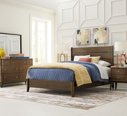 Devon Loft Walnut 5 Pc King Panel Bedroom