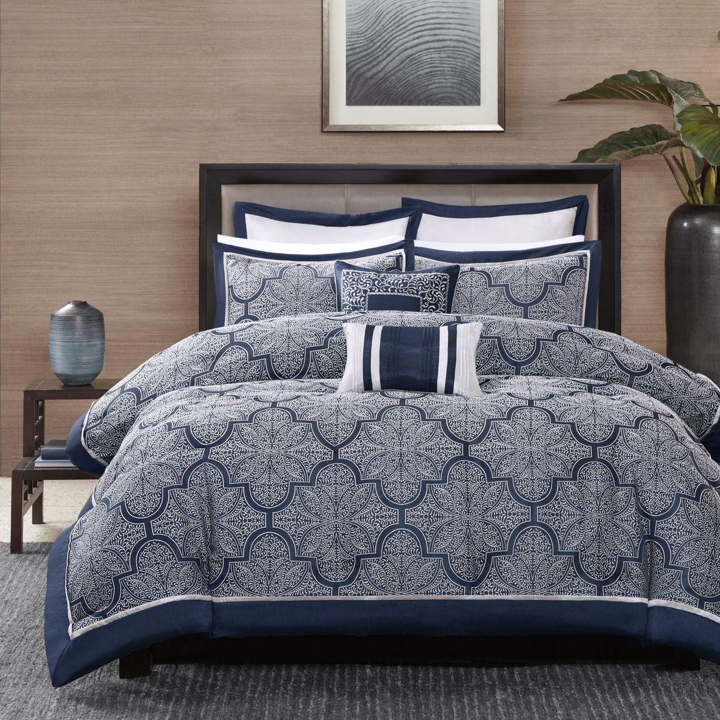 Diala Navy 8 Pc California King Comforter Set