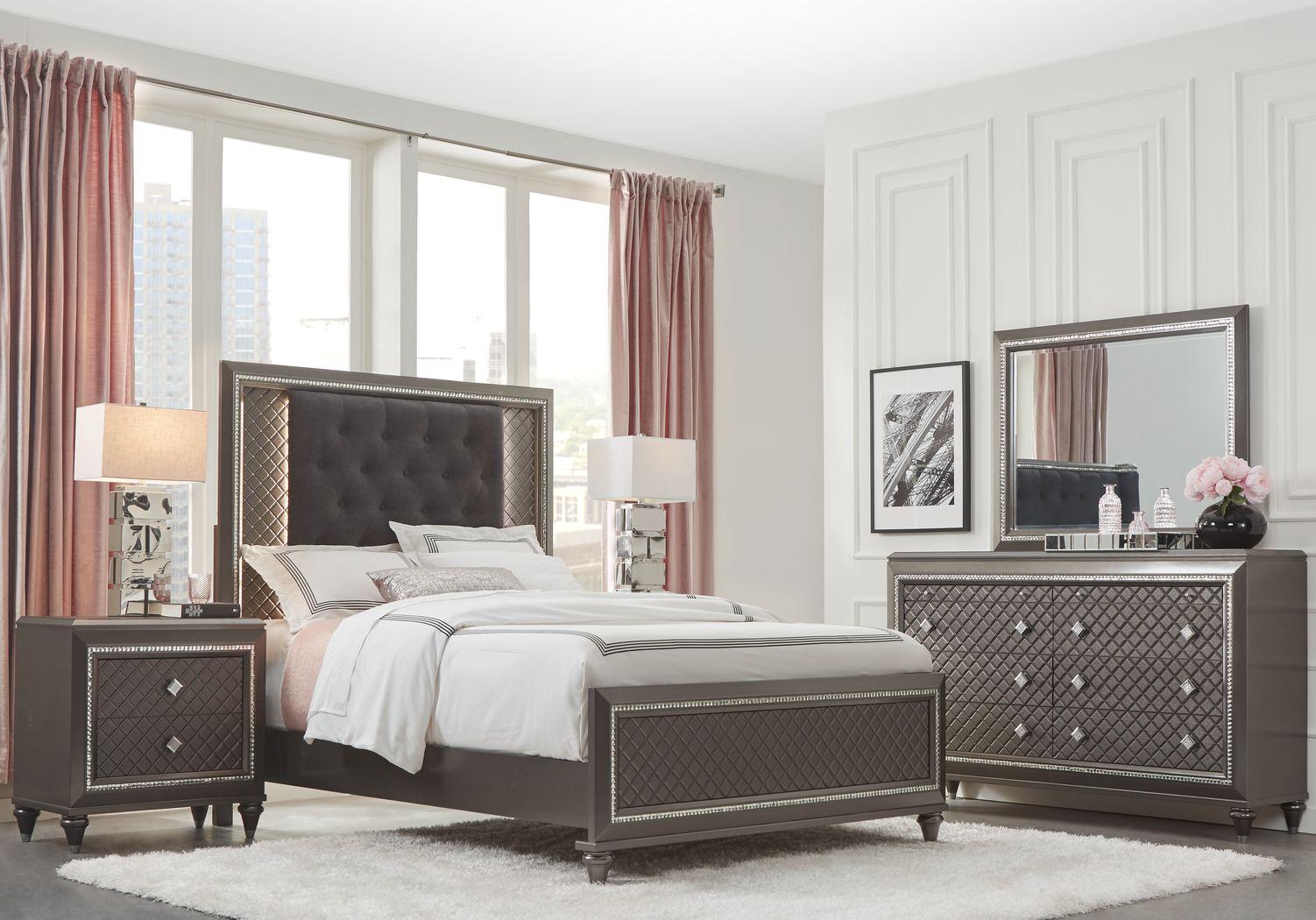 Diamond Falls Gray 7 Pc Queen Panel Bedroom