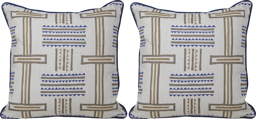 Tolson Twilight Blue Indoor/Outdoor Pillows, Set of Two